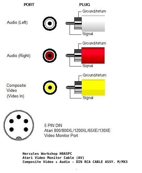 New Atari Cable Assy Composite Av on Rca Jack Wiring Diagram